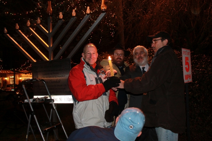 Lighting the Weston Menorah, Rabbi Levi and Stone and Rabbi Yehoshua Hecht and the Local EMS and FD officials